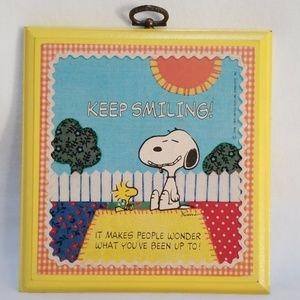Hallmark Keep Smiling Snoopy Wood Wall Plaque 1965